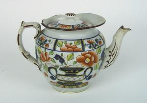 Gaudy Dutch teapot, 19th c., in the urn pattern, 6