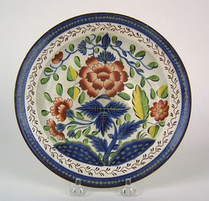 Gaudy Dutch plate, 19th c., in the carnation patte