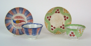 Red and blue rainbow spatter cup and saucer with p