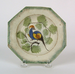 Leeds pearlware octagonal toddy plate, 19th c., wi