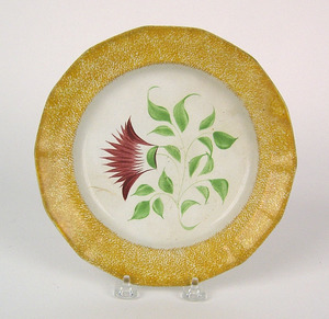 Yellow spatter plate with red thistle, 8 1/2