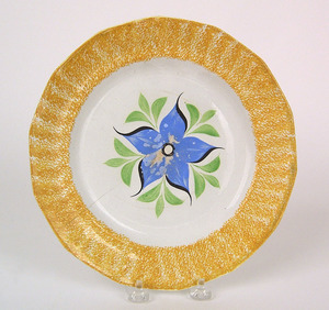 Yellow spatter plate with blue morning glory, 9 3/