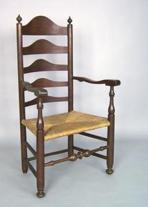 Pennsylvania maple ladderback armchair, late 18th.