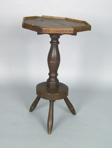 Pennsylvania walnut candlestand, 18th c., with anc