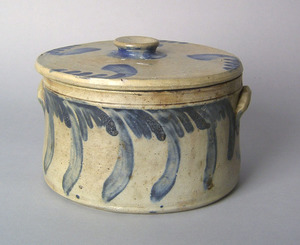 Pennsylvania lidded stoneware butter crock with bl