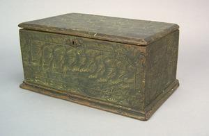 New England painted basswood storage box, ca. 1810