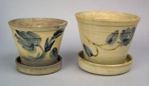 Two Pennsylvania stoneware flowerpots and undertra