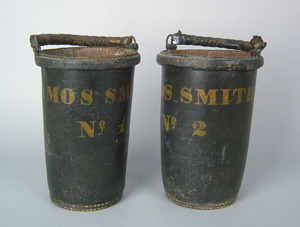 Pair of American leather fire buckets, mid 19th c.