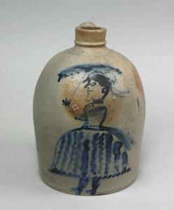 Stoneware jug, 19th c., with cobalt decoration of