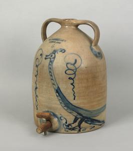Six gallon stoneware water jug, 19th c., impressed