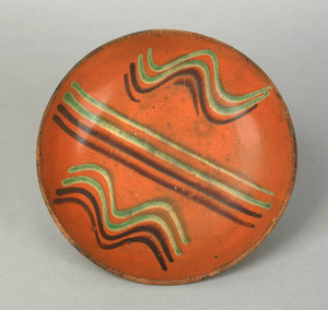 Pennsylvania redware pie plate, probably Dryville,