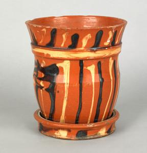 Pennsylvania redware flower pot and undertray, ear