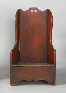 Child's mahogany potty rocking chair, 19th c., wit