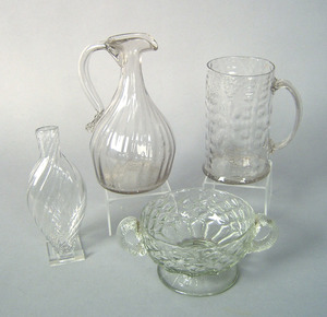 Clear blown molded glass sugar bowl, late 19th c.,