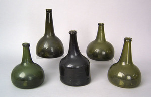 Five English or Continental blown green and brownl