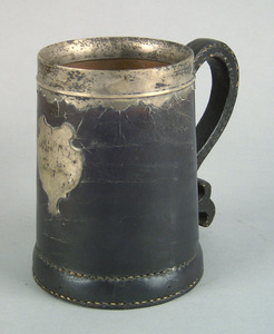 Leather tankard, ca. 1900, of tapered conical form