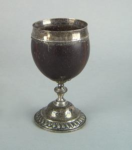English coconut shell mug, 18th c., the silver rim