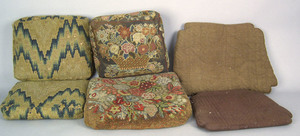 Six quilted and needlework seat cushions, 18th c.