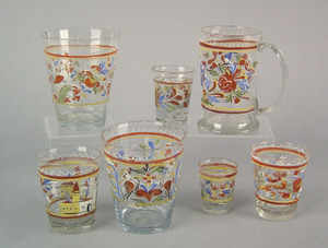 Three Stiegel type tumblers, early 19th c., with e