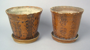 Pair of Pennsylvania large redware flowerpots andn