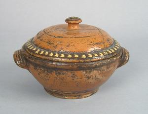 Pennsylvania redware covered bowl, 19th c., probab