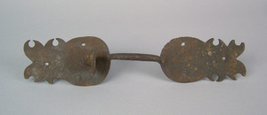 American wrought iron thumb latch, 18th c., with p