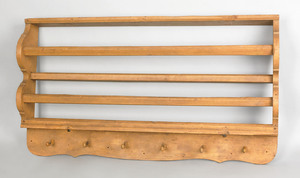 Painted pine hanging shelf, early 19th c., with sc