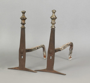 Pair of English brass and wrought iron andirons, c