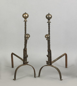 Pair of bell metal and iron andirons, probably Eng