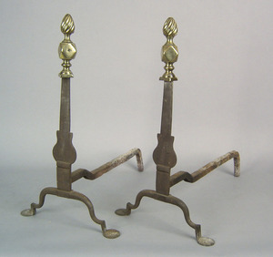 Pair of knife blade andirons, late 18th c., with f