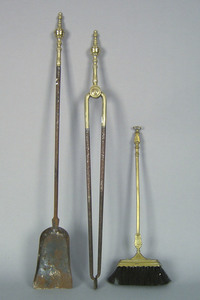Federal brass and iron fire tongs, ca. 1800, withr
