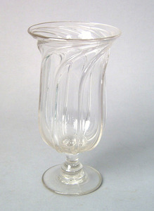 English clear glass pillar molded celery vase, ca.