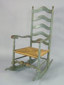 Pennsylvania painted ladderback rocking chair, ca.