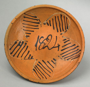 Southern Moravian slip decorated plate dated 1824,