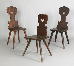 Two walnut Moravian chairs, ca. 1750, each with he