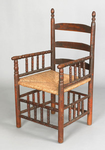 Massachusetts turned maple great chair, late 17th.