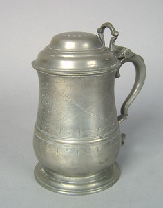London pewter tankard, ca. 1750-1760, with the mar