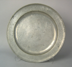 Three English pewter chargers, 18th c., one ca. 16