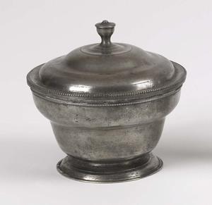 Pewter sugar bowl, attributed to Parks Boyd, Phila