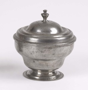 American pewter sugar, attributed to William Will,