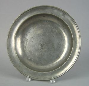 American pewter shallow bowl by George Lightner, e