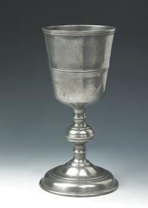 Lancaster, Pennsylvania,1752-1781, pewter chalice,