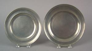 Two Philadelphia pewter plates, early 19th c., bea