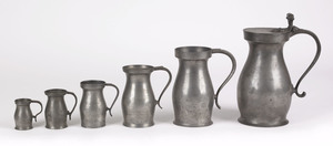 Five graduated pewter measures, New York City, 177