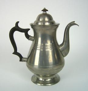 Philadelphia pewter coffee pot, ca. 1839-1841, bea