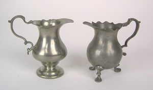 Two pewter cream pots, one on pedestal, attributed