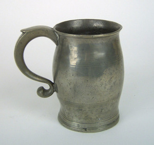 American pewter barrel shaped mug, attributed to R