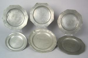 Set of 3 German pewter plates, ca. 1770-1810, 9 1/