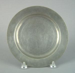 Philadelphia pewter plate, ca. 1800, bearing the m