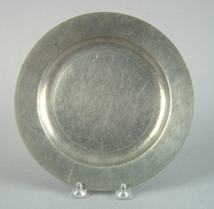 American pewter plate, attributed to Cornelius Bra